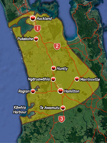 Rohe map for Waikato.